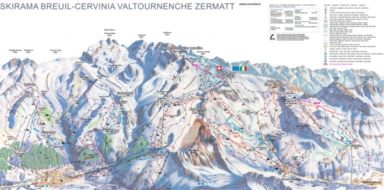 Breuil Cervinia Valtournenche Zermatt Skimap
