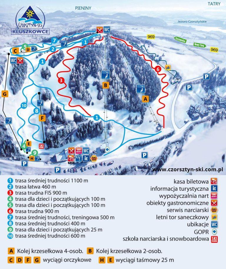 Czorsztyn Ski mapa tras