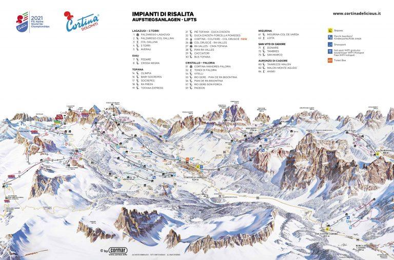 Teren narciarski Lagazuoi – 5 Torri – Passo Falzarego – Cortina d'Ampezzo Skimap
