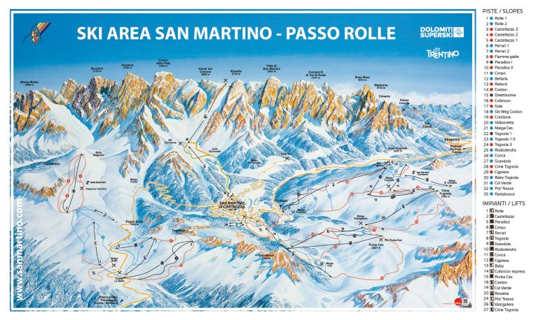 San Martino di Castarozza – Passo Rolle Skimap