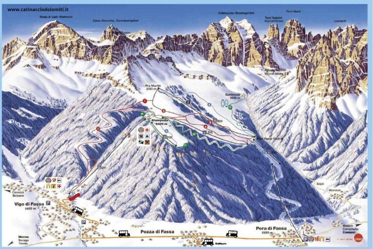 Skimap Vigo di Fassa – Catinaccio – Val di Fassa