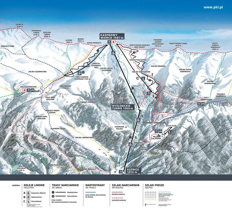 PKL Kasprowy Wierch – Zakopane mapa zimowa