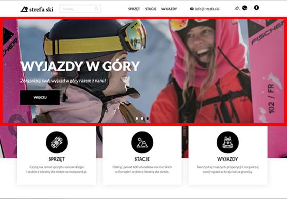 Reklama na sliderze na stronie głównej strefa.ski